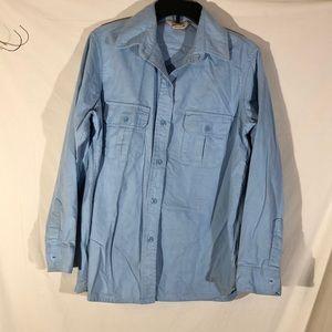 Cabela's Blue Long Sleeve Button Up Cotton Blouse